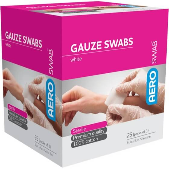 Gauze Swab 3 Pcs White - 5cm X 5cm Box of 25