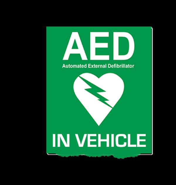 In Vehicle Window AED Sticker