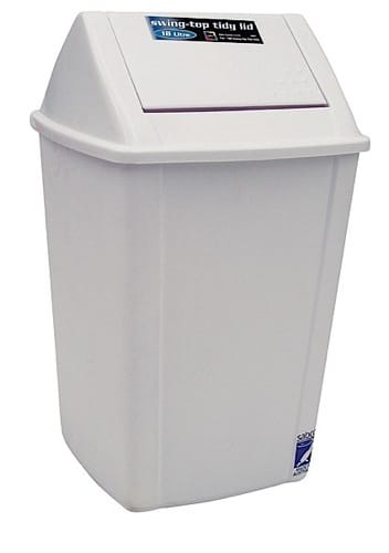 Swing Top Tidy White Bin 30Ltr