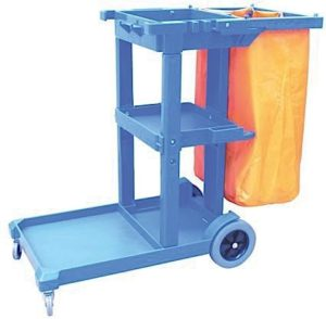 Blue Janitors Cart With Bag