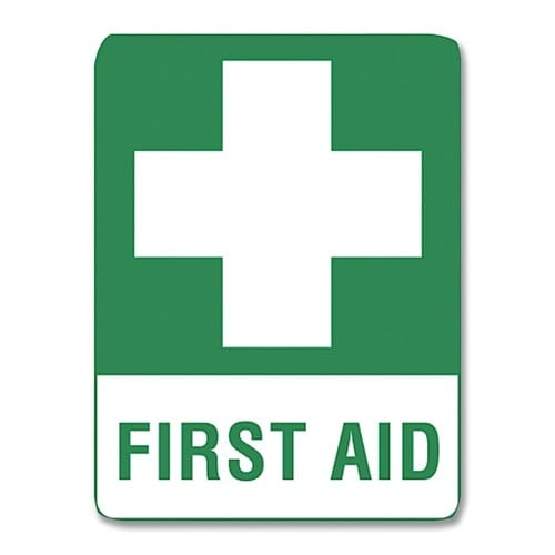 First Aid Sign Ss Label - 15cm X 22.5cm