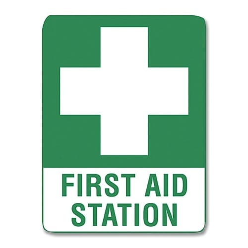 First Aid Station Sign Metal - 45cm X 30cm