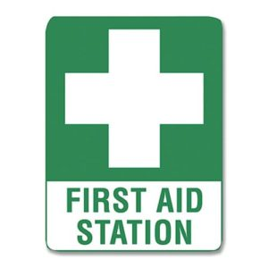 First Aid Station Sign Metal - 30cm X 22.5cm