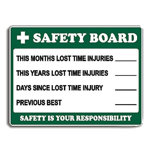 Safety Record Stats Sign Metal - 60cm X 45cm