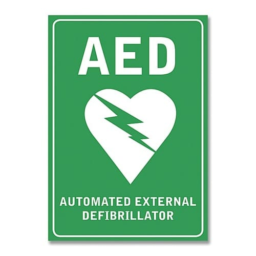 AED Wall Sticker Sign Single