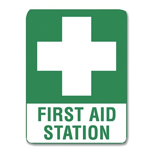 First Aid Station Sign Poly - 45cm X 30cm
